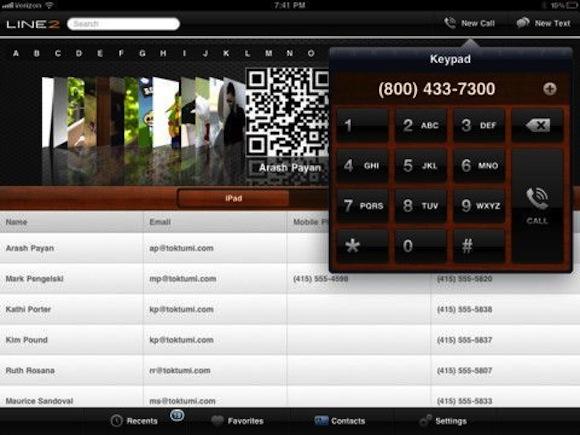 Line2 HD call management hub for iPad