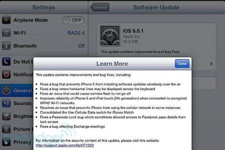 iOS 6.0.1 update released